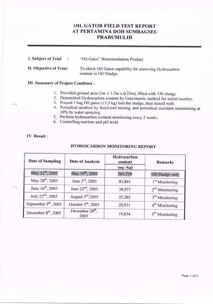 Field Test Report Oil Gator - Prabumulih1